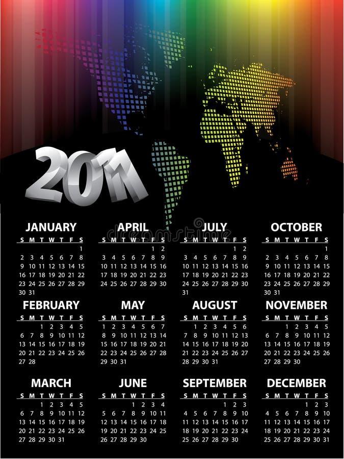 конструкция 2011 календара иллюстрация вектора