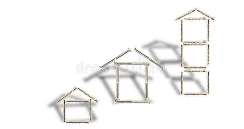 Конструкция 3 домов от болтов стоковые изображения rf
