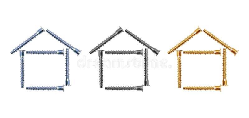 Конструкция 3 домов от болтов стоковая фотография