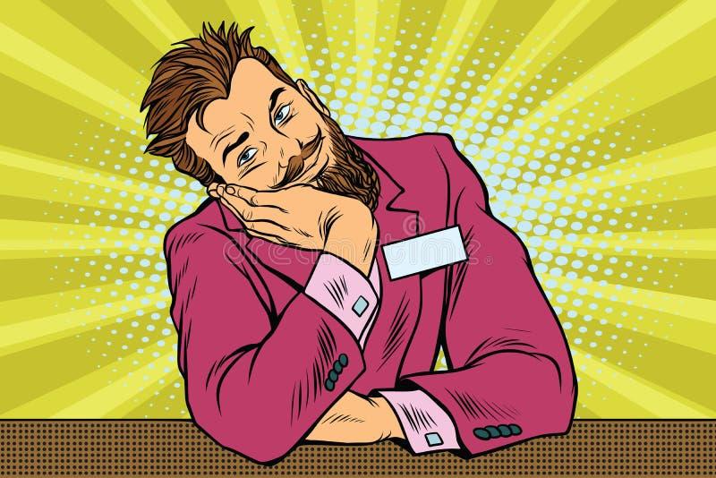Консьерж битника бизнесмена бородатый сидит и мечтает иллюстрация вектора