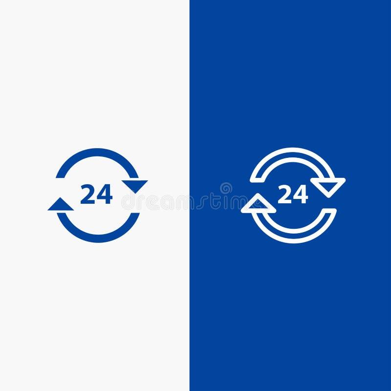 Консьерж, гостиница, никакое, круглосуточно, знамя твердого значка обслуживания, линии стопа и глифа голубое иллюстрация вектора