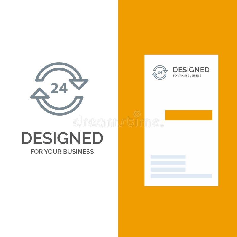 Консьерж, гостиница, никакое, круглосуточно, обслуживание, дизайн логотипа стопа серые и шаблон визитной карточки иллюстрация вектора