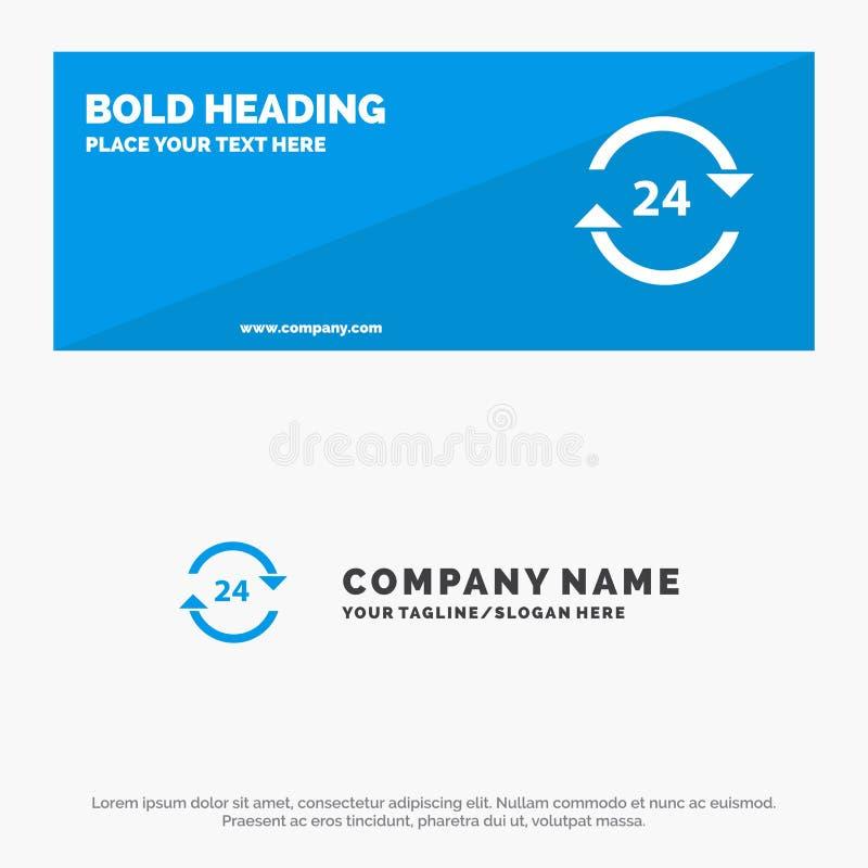 Консьерж, гостиница, никакое, круглосуточно, обслуживание, знамя вебсайта значка стопа твердые и шаблон логотипа дела бесплатная иллюстрация