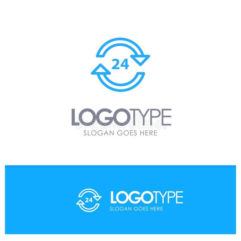 Консьерж, гостиница, никакое, круглосуточно, обслуживание, линия стиль логотипа стопа голубая иллюстрация вектора