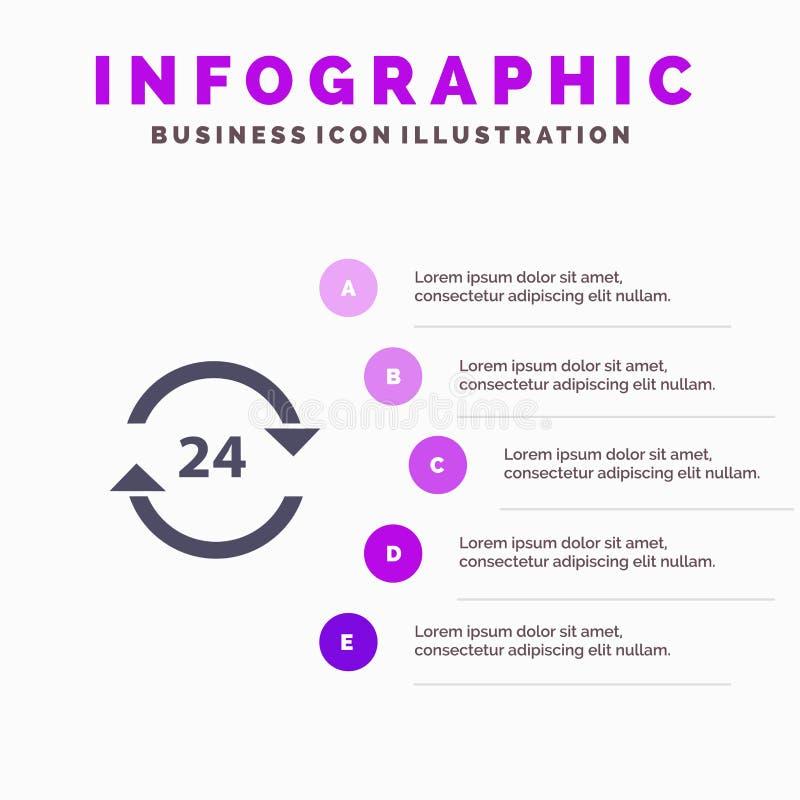 Консьерж, гостиница, никакое, круглосуточно, обслуживание, шаблон представления Infographics стопа Представление 5 шагов иллюстрация вектора