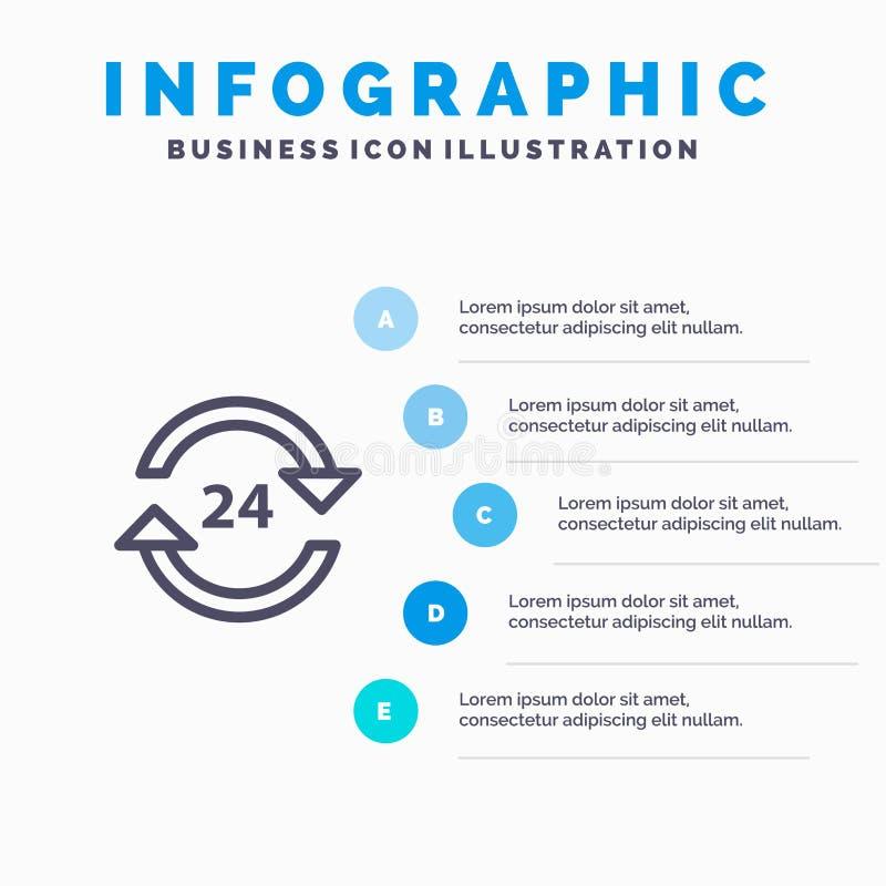 Консьерж, гостиница, никакое, круглосуточно, обслуживание, шаги шаблона 5 Infographics стопа голубые Линия шаблон вектора значка бесплатная иллюстрация