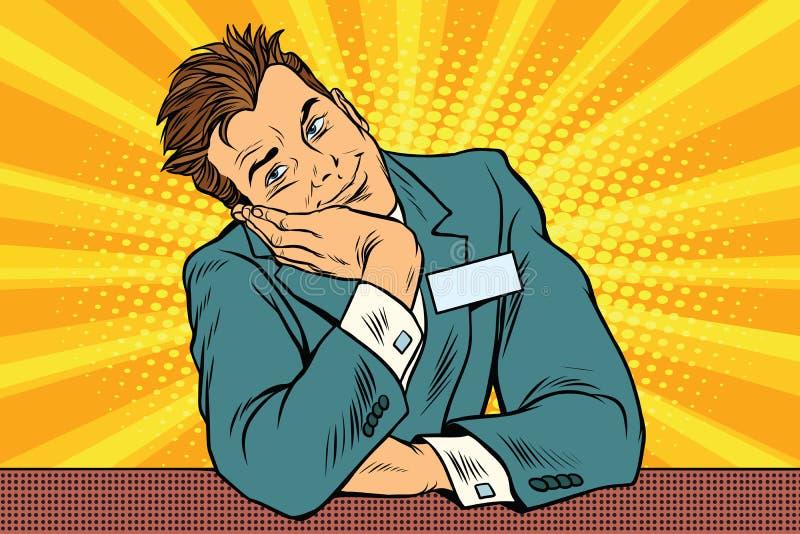 Консьерж менеджера бизнесмена сидит и мечтает бесплатная иллюстрация