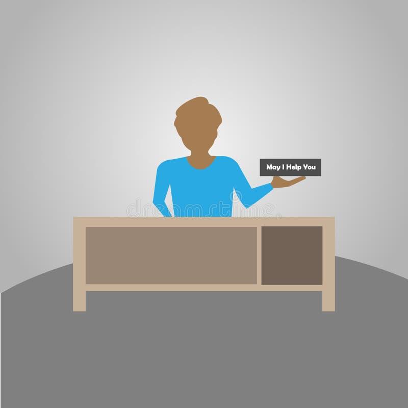 Консьерж, работник жилого дома, гостиница, или гости голевых передач офиса путем выполнять различные задачи бесплатная иллюстрация