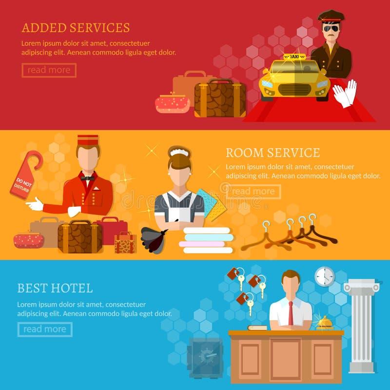 Консьерж чистки ресервирования приема знамени обслуживания гостиницы бесплатная иллюстрация