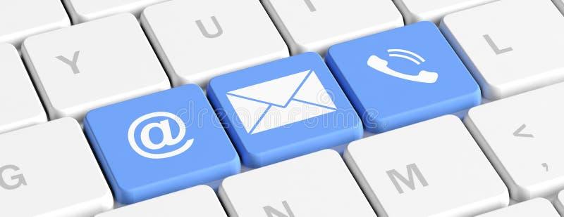 контактируйте почту позвоните по телефону нам Голубые кнопки ключей со знаками почты и телефона на клавиатуре компьютера, знамени иллюстрация штока