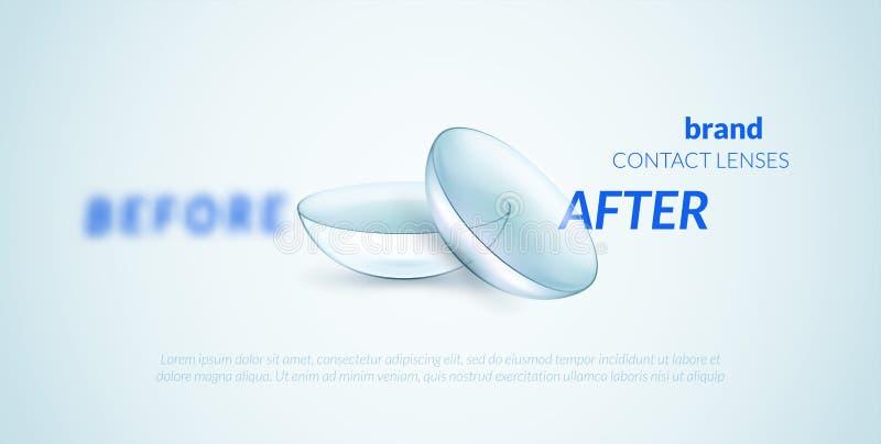 Контактные линзы рекламируя шаблон иллюстрация штока