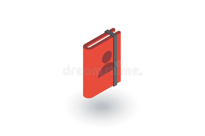 Контакты, значок адресной книга равновеликий плоский вектор 3d иллюстрация вектора