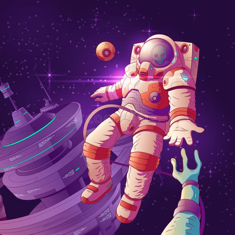 Контакт астронавта с чужеземцем в векторе космоса бесплатная иллюстрация