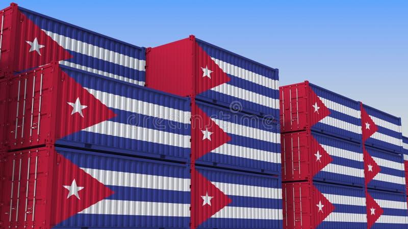 Контейнерный терминал вполне контейнеров с флагом Кубы Кубинський экспорт или импорт связали перевод 3D иллюстрация штока