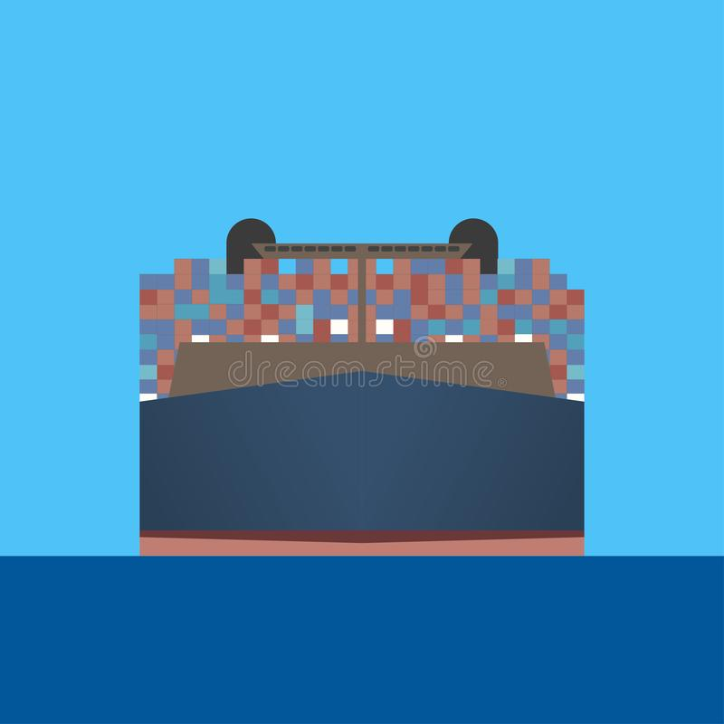 Контейнеровоз проводит через голубое море бесплатная иллюстрация