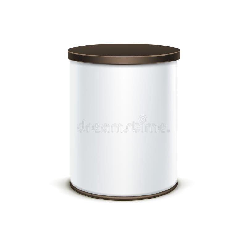 Контейнер белой коробки олова упаковывая для кофе чая изолировал вектор бесплатная иллюстрация