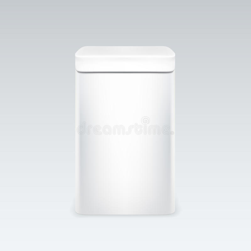 Контейнер белой коробки олова упаковывая для чая или кофе погань metall иллюстрация вектора