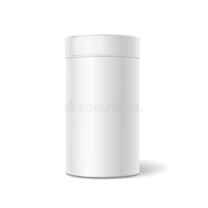 Контейнер белой коробки олова упаковывая для чая или иллюстрация вектора