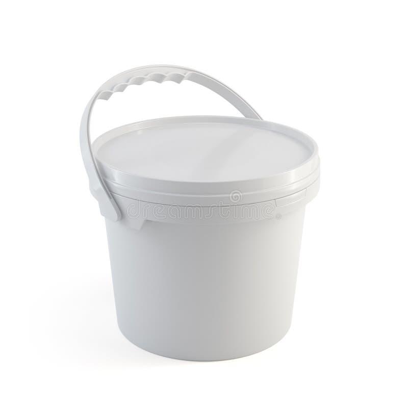 Контейнер ведра белой закрытой краски пластичный с пластичной ручкой иллюстрация вектора