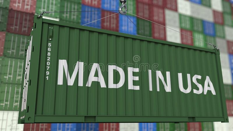 Контейнер загрузки с сделанный в титре США Американский перевод 3D импорта или экспорта родственный иллюстрация штока