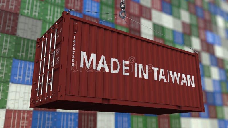 Контейнер загрузки с СДЕЛАННЫЙ В титре ТАЙВАНЯ Тайваньский перевод 3D импорта или экспорта родственный иллюстрация штока