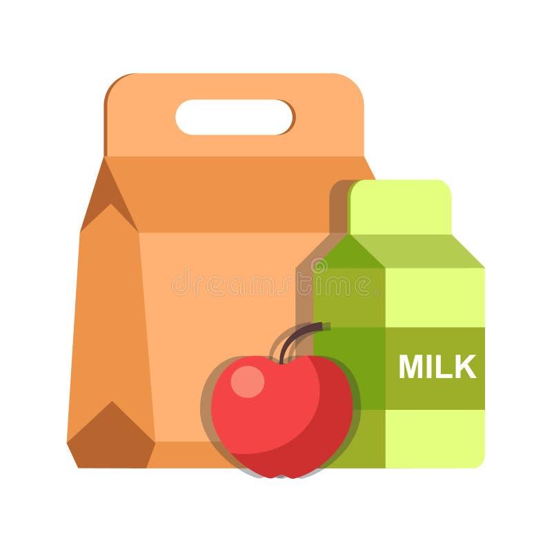 Контейнер и молоко завтрака коробки еды школьного обеда пакуют значок вектора плоский иллюстрация вектора