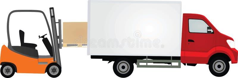 Контейнер нагрузки грузоподъемника, который нужно перевезти на грузовиках иллюстрация вектора