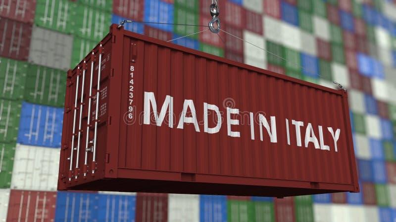Контейнер с СДЕЛАННЫЙ В титре ИТАЛИИ Итальянский перевод 3D импорта или экспорта родственный иллюстрация штока