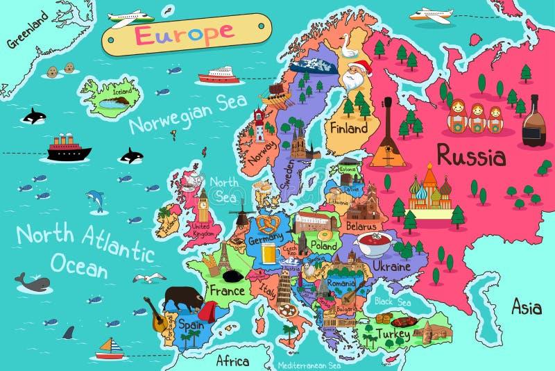 континентальная карта европы политическая бесплатная иллюстрация