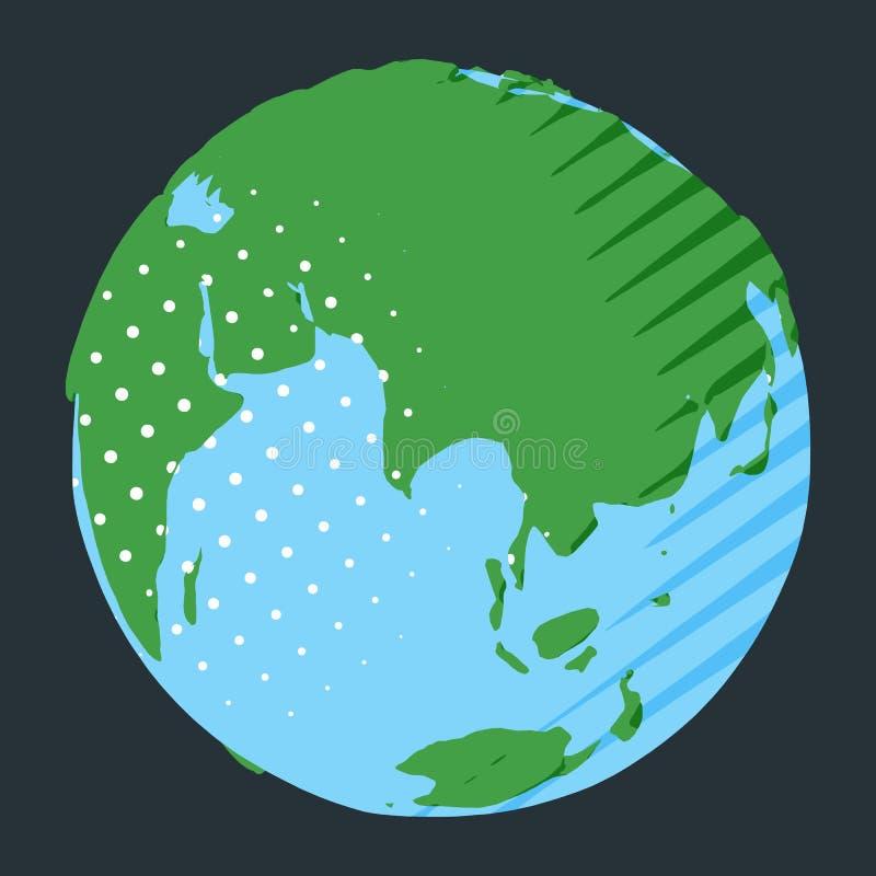 Континент Евразии на глобусе в шуточном стиле с точкой и нашивками польки бесплатная иллюстрация