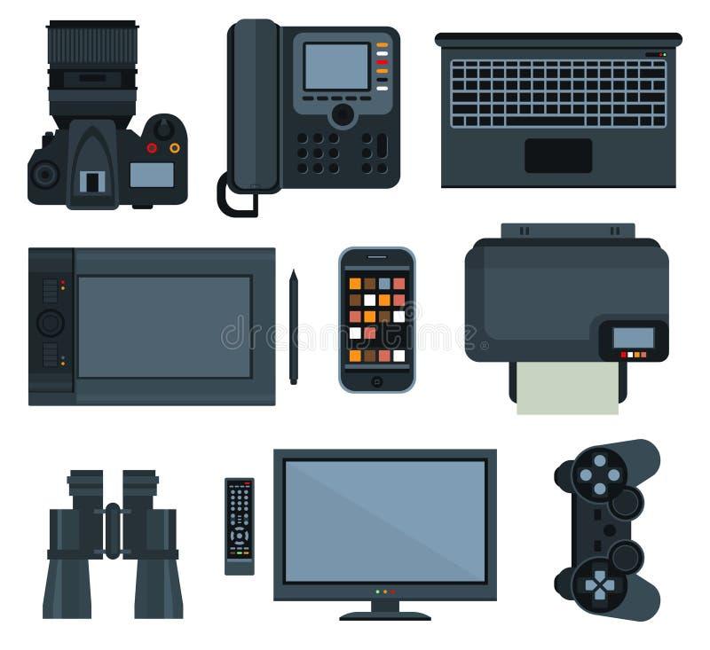 Конторские машины Комплект значка вектора бесплатная иллюстрация