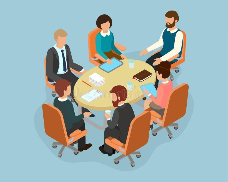 Конторский персонал на круглом столе в процессе обсуждать иллюстрация вектора