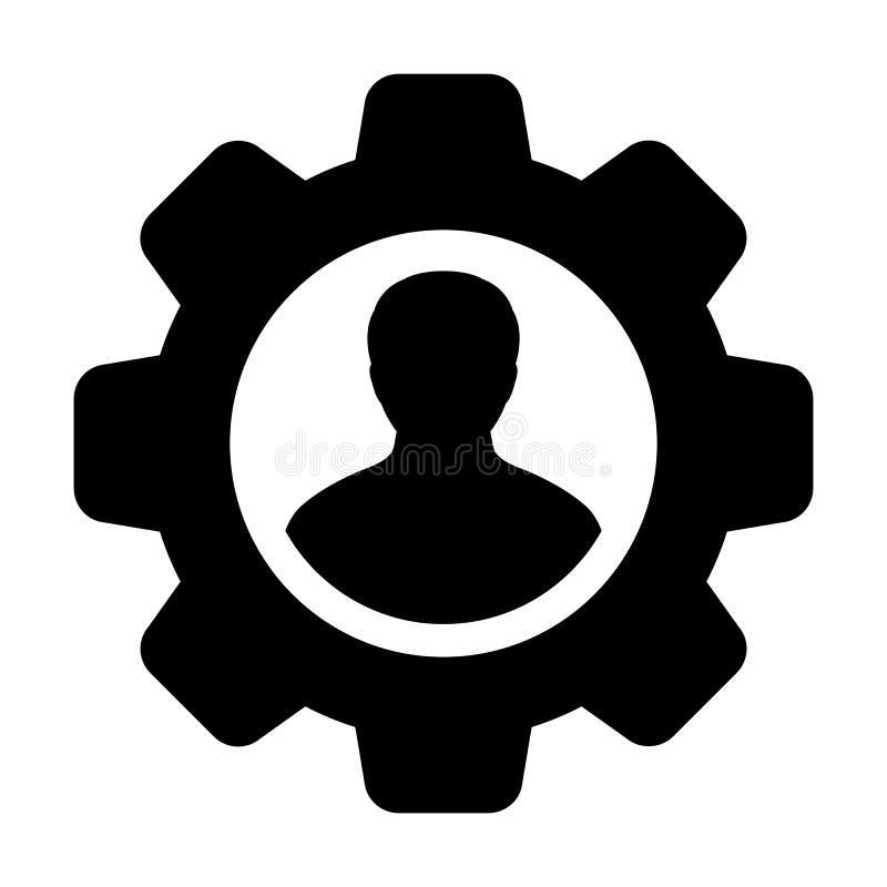 Контрактор иконка векторный мужской профиль пользователя аватар с колесом передачи для настройки и настройки в плоском цветном гл бесплатная иллюстрация
