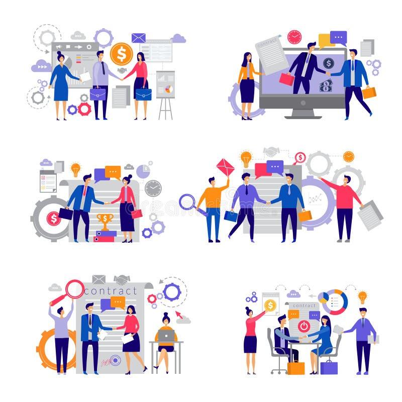 Контракты дела Менеджеры вкладов финансов рукопожатия дела отношения инвесторов директоров успешные мужские иллюстрация вектора