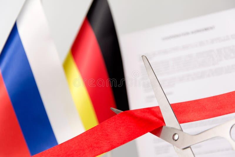 Контракт завершил флаг России Германии стоковые фотографии rf
