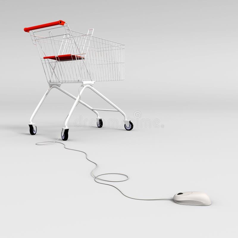 контролируемая тележкой покупка мыши иллюстрация вектора
