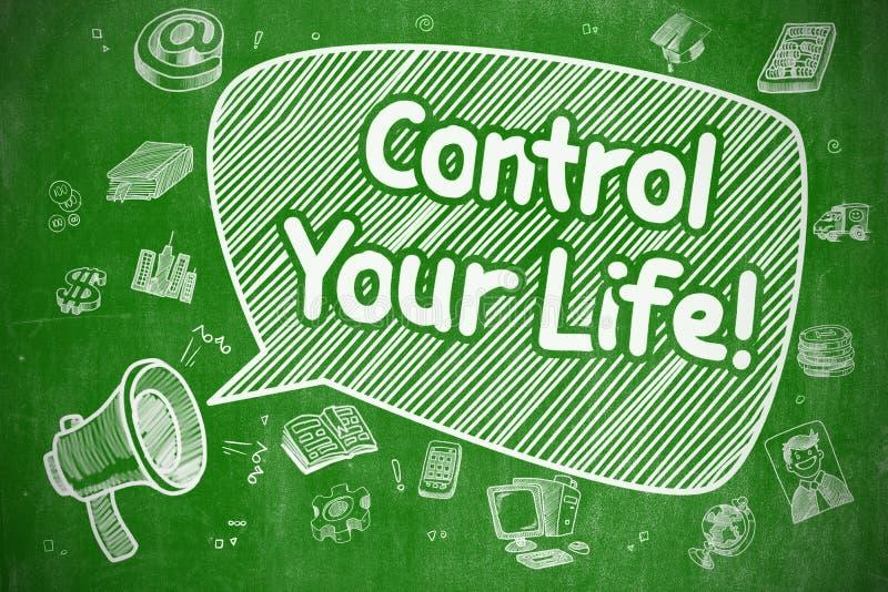 Контролируйте вашу жизнь - иллюстрацию Doodle на зеленой доске иллюстрация штока
