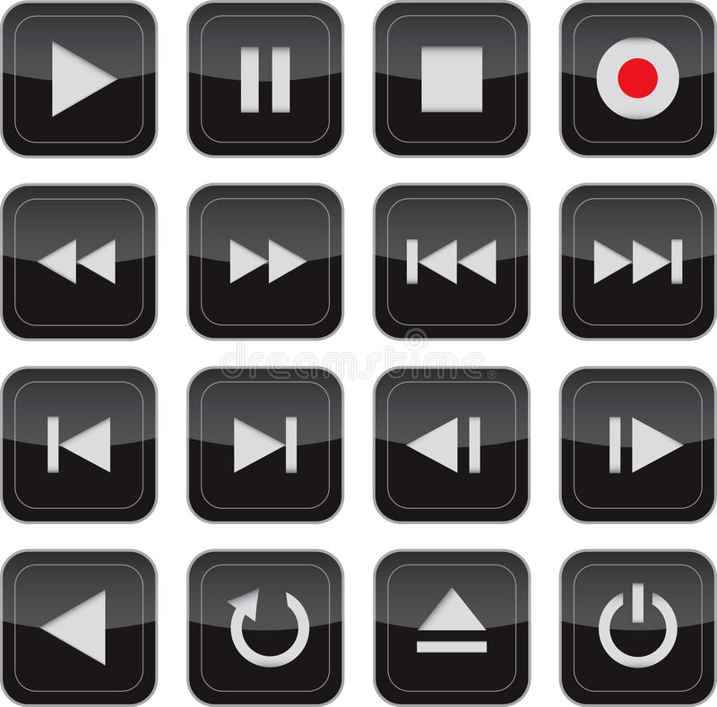 контролируйте лоснистые установленные мультимедиа иконы бесплатная иллюстрация