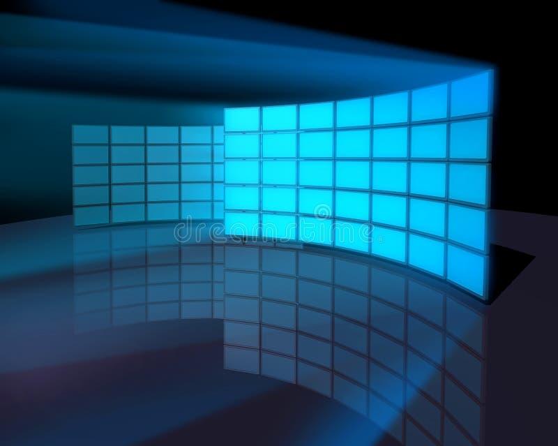 контролируйте стены экрана панели широко иллюстрация вектора