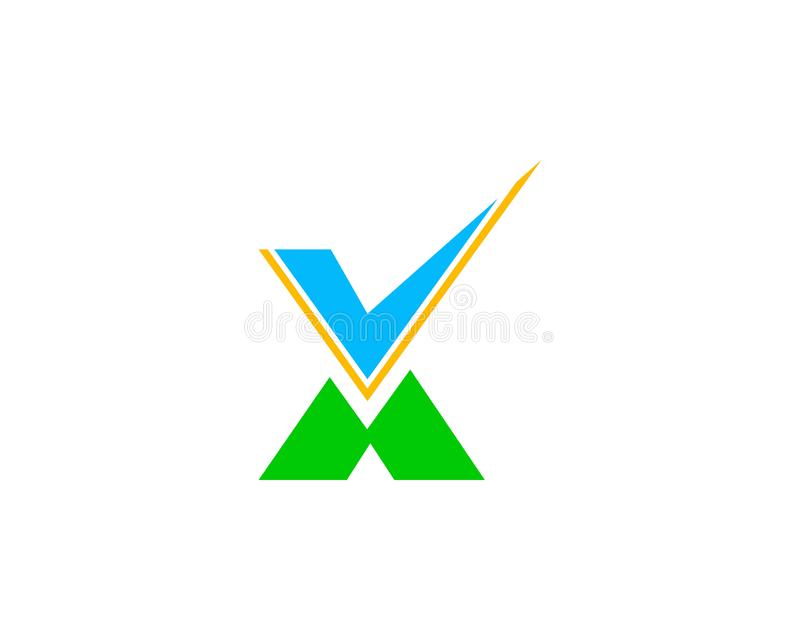 Контрольная пометка и вектор логотипа письма x иллюстрация штока