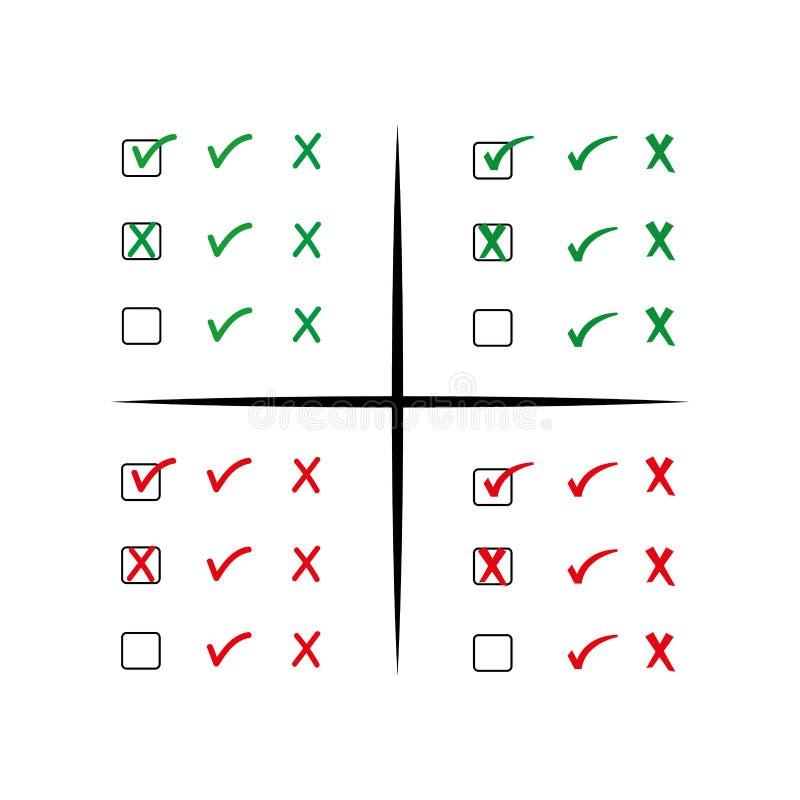 Контрольная пометка, тикание и крест, иллюстрация вектора, форма и jpg с путем клиппирования, значками изолированными на белизне иллюстрация штока