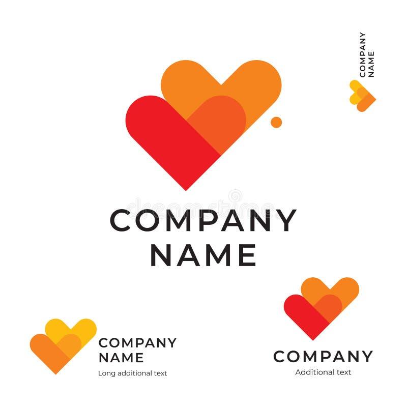 Контрольные пометки как концепции значка символа бренда идентичности влюбленности логотипа 2 сердец шаблон современной установлен стоковая фотография