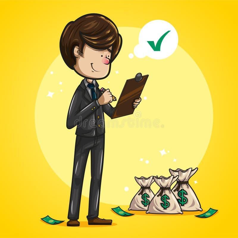 Контрольный список бизнесмена, с деньгами кладет в мешки около его иллюстрация вектора