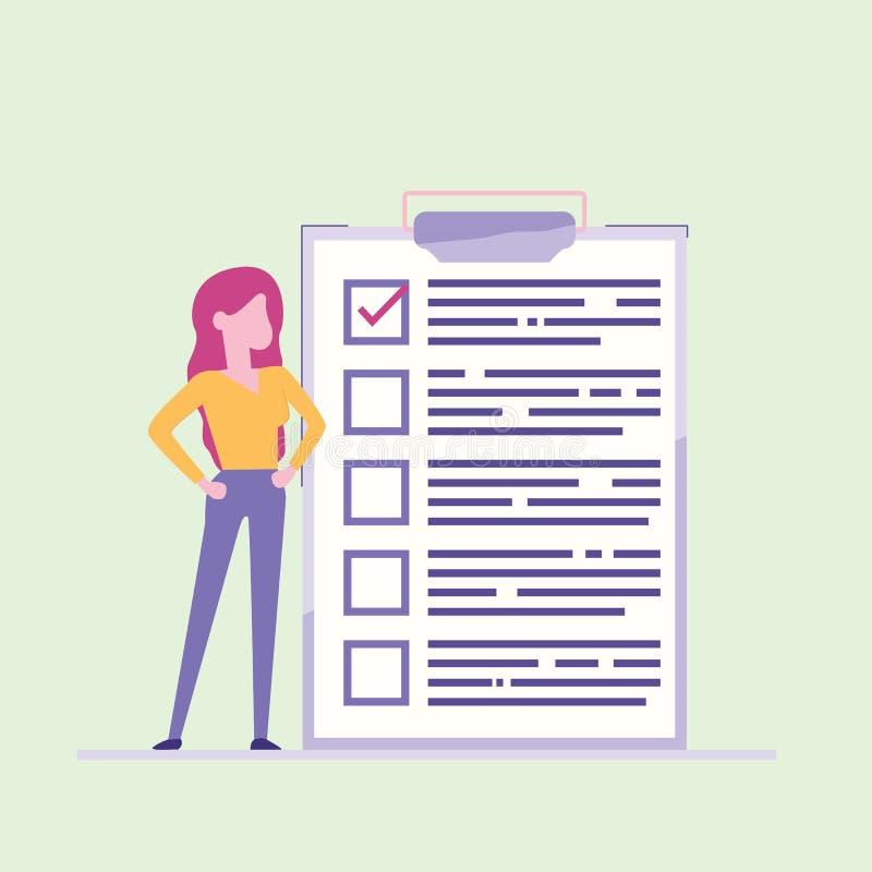 Контрольный списоок бизнес-леди близрасположенный маркированный на бумаге доски сзажимом для бумаги Успешное завершение задач дел иллюстрация вектора