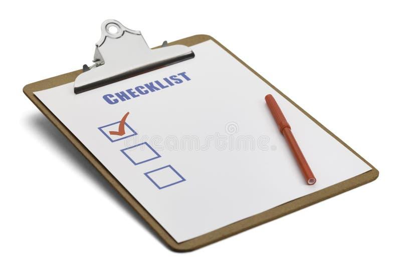 Контрольный списоок доски сзажимом для бумаги стоковое фото rf