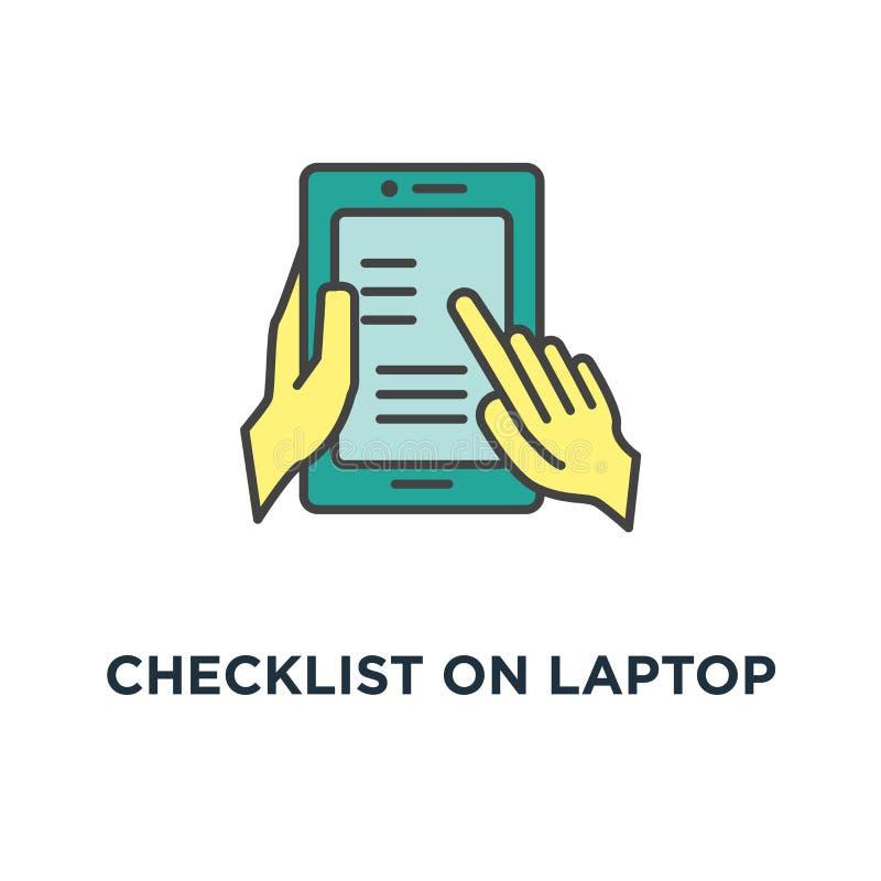 контрольный списоок на значке дисплея ноутбука флажки с контрольной пометкой, списком дизайна символа концепции приобретений, зад иллюстрация вектора