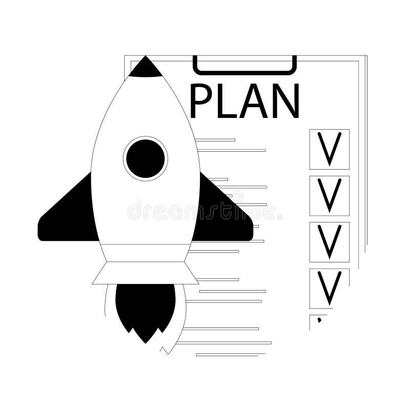Контрольный списоок плана для запуска старта иллюстрация вектора
