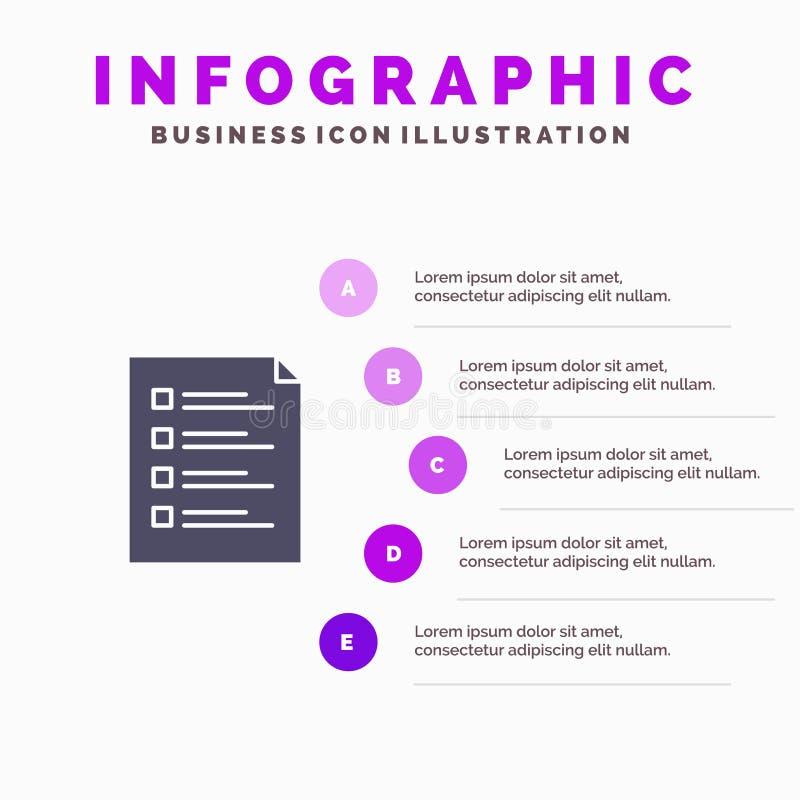 Контрольный списоок, проверка, файл, список, страница, задача, предпосылка представления шагов Infographics 5 значка испытания тв иллюстрация штока