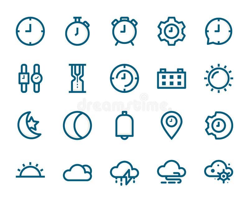 Контроль времени и набор значка плана заполнения погоды, концепция дела иллюстрация штока
