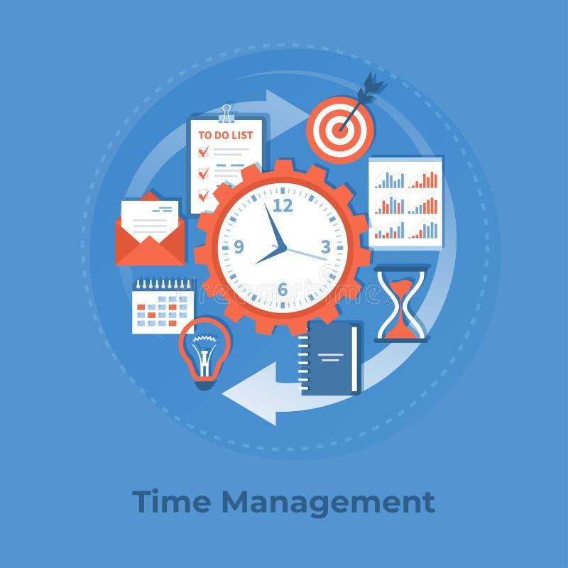 Контроль времени и планирование бизнеса, организация, работая Предпосылка данным по дела, знамя иллюстрация вектора